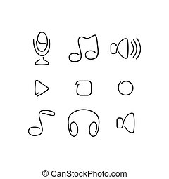 Music audio set icons