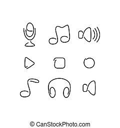 Music audio set icons