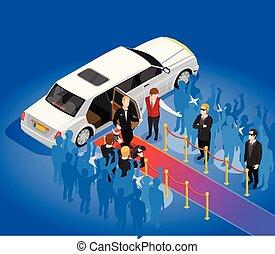 Music Award Celebrity Limousin Isometric Illustration