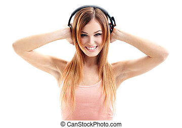 Music babe - Sexy woman in pink shirt listening for the ...