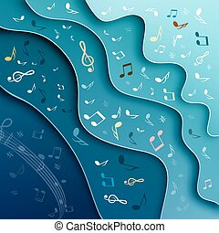 Music Background. Abstract Vector Cover Design with Notes and Staff.