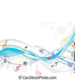 abstract wave line with music notes for design use, vector illustration