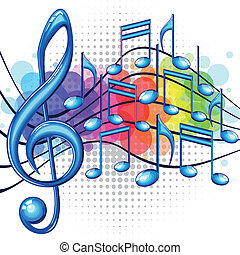 Blue glossy music notes on a rainbow background, vector illustration