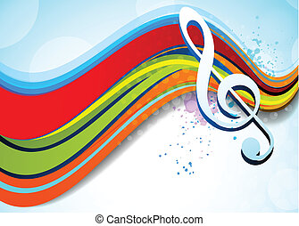 Music background - Bright music background with g-clef....