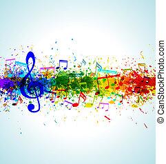 Music background. Color paint splashes. Gradient vector....
