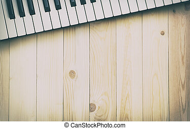 Music background copy space with piano keys on top.