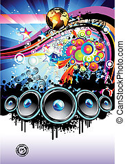 Music Background - Disco Music Event Background with...