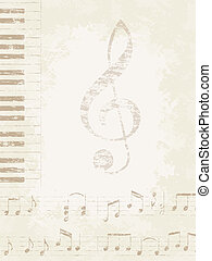 Music Background - Faded old music background. Piano keys...