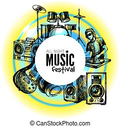 Music background. Hand drawn illustration. Vector design
