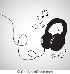 Music background with the headphones - vector illustration