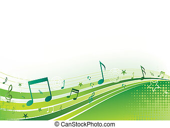 music background - note, music, green background