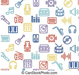 Music Background Outline Icon Set. Vector