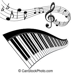 Piano and notes with music elements for musical design