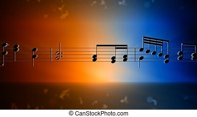 Music background - Blue and orange background with scrolling...