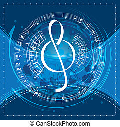 music background with decorative treble clef, vector illustration