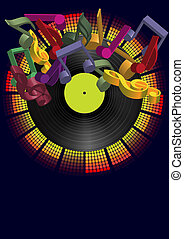 Music Background - Vinyl Record and Multicolor Notes