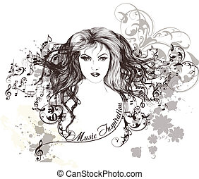 Music background with beautiful - Vector portrait of...