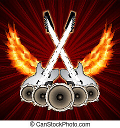 Music background with fire wings. Rock party cover. EPS10 ...