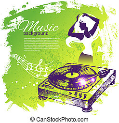 Music background with hand drawn illustration and dance girl...