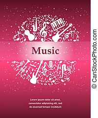 music background with instruments and notes with place for...