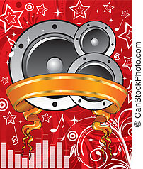 Music background with loudspeaker and banner, element for...