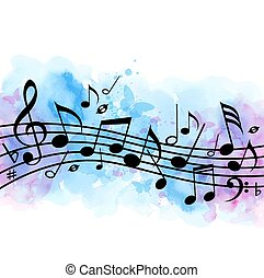 Music background with notes and blue watercolor texture