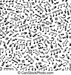 Music background with notes seamless pattern