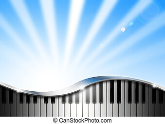 Modern musical background with piano keys and chrome fittings