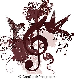 Music background with treble clef and humminbirds for design