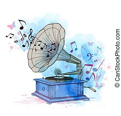 Music background with vintage gramophone