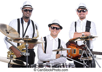 Music Band - Band of musicians with instruments. isolated on...