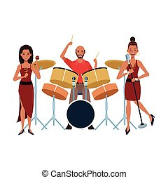 music band playing instruments over white background, colorful design. vector illustration