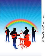 music band on rainbow internet background