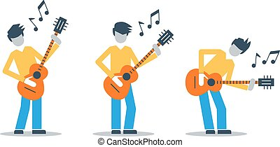 Music band playing live concert, three guitarists, audition...