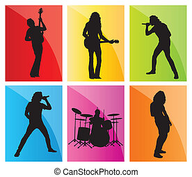 Music band set vector background for poster