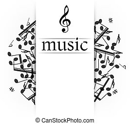 Music banner with shadow. Musical background with clef....