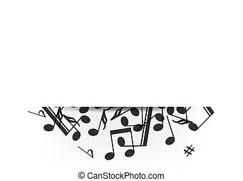 Music banner with shadow. Musical background clef and notes....