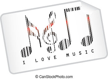 music bar code - music notes bar code isolated over white...