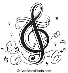 Abstract funky musical notes, vector layered.