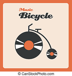 Music bicycle - Illustration of a bike with wheels of music...