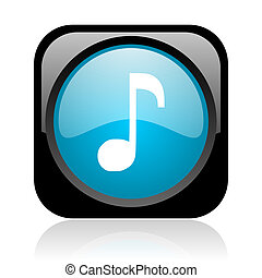 music black and blue square web glossy icon