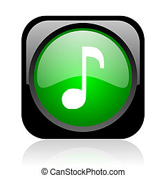 music black and green square web glossy icon
