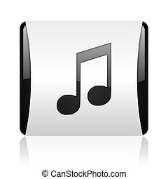 music black and white square web glossy icon