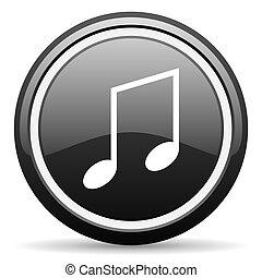 music black glossy icon on white background