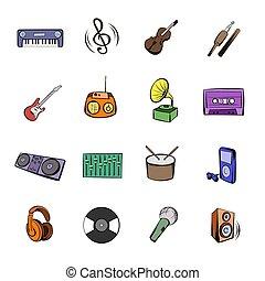 Music black icons set cartoon