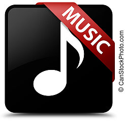 Music black square button red ribbon in corner