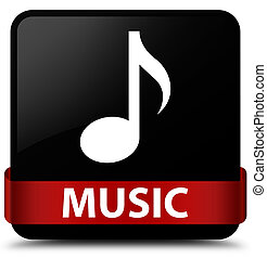 Music black square button red ribbon in middle