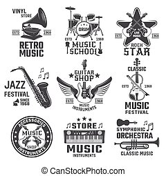 Music Black White Emblems