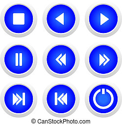 Music blue buttons set - vector