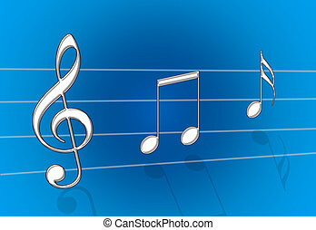 Music Blue - Chrome metal steel music notes on blue gradient...